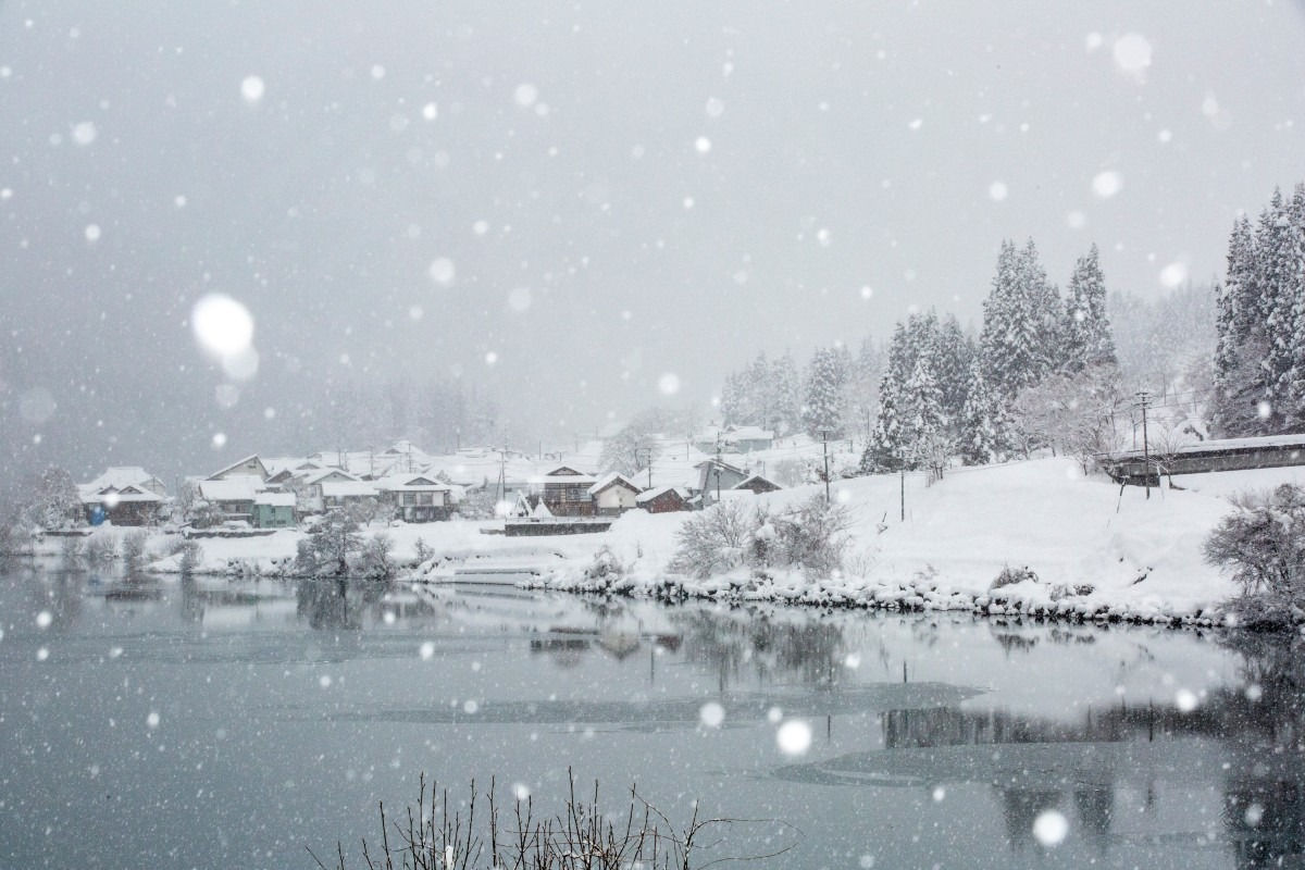 雪降る奥会津大志集落