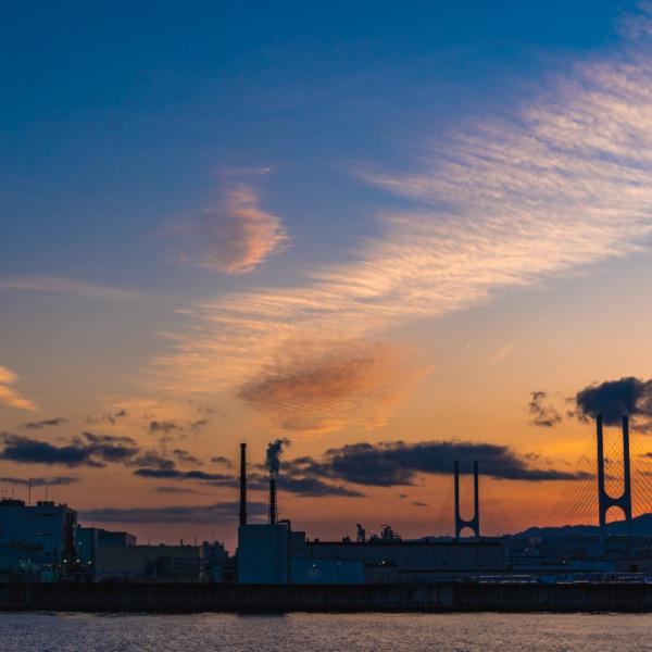 芦屋浜からの夕陽