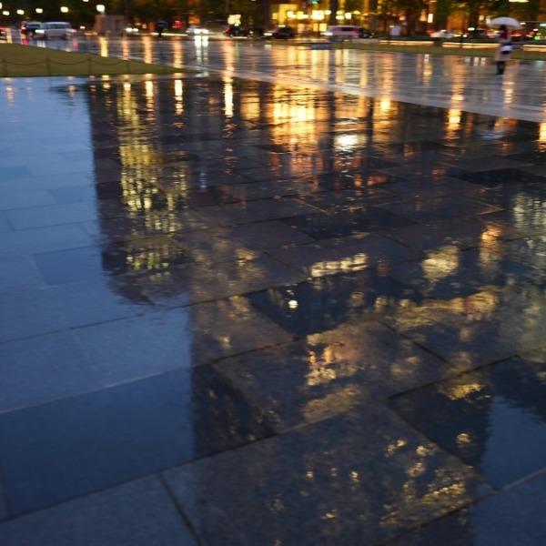 東京駅前の水面反射✨:黄金の雨に唄えば