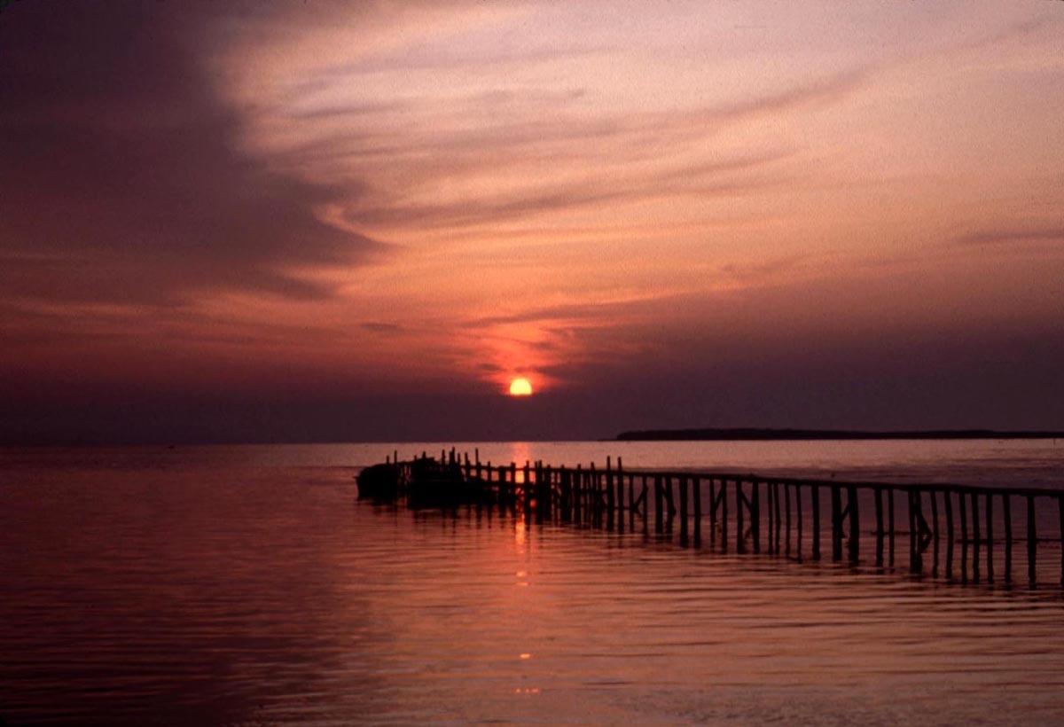 サロマ湖に日は落ちて
