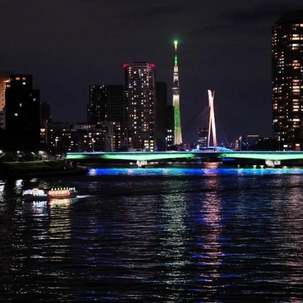 勝鬨橋夜景2020✨東京スカイツリーコラボ🆒尾形船