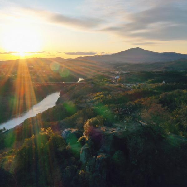 苗木城跡からの夕日