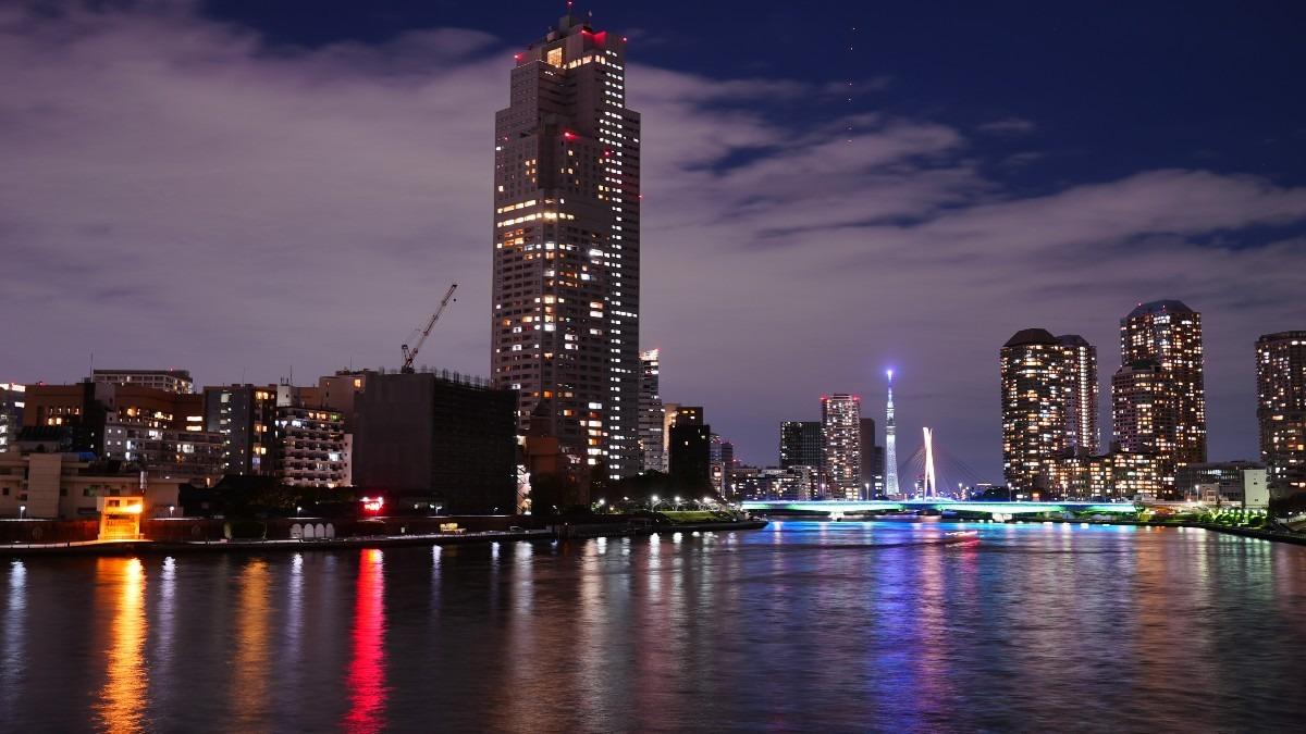 勝鬨橋夜景2020✨東京スカイツリーコラボ🆒水面反射