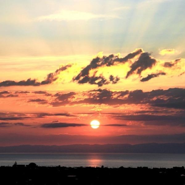 能登半島への夕陽