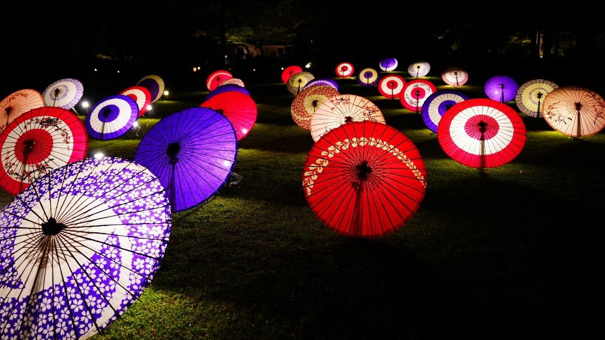 日本庭園2020/和傘ライトアップ彩✨