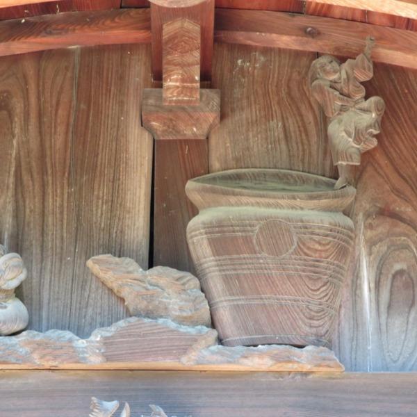 杉谷の里山・軍神社の彫刻 戦勝祝いの酒宴模様