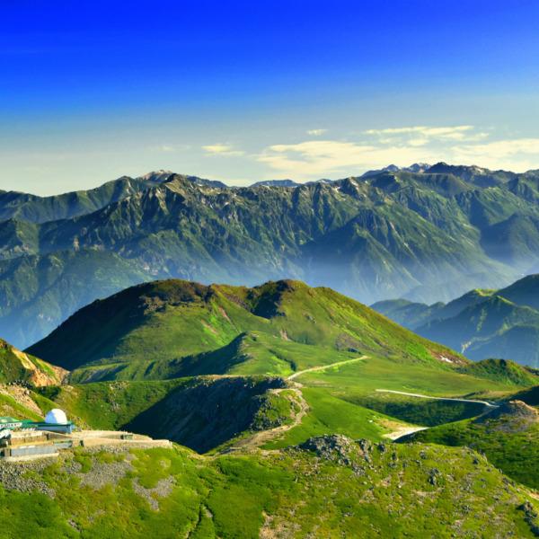 乗鞍岳と北アルプスの山々