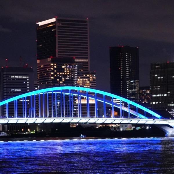 築地大橋夜景🆒:勝鬨橋左側より