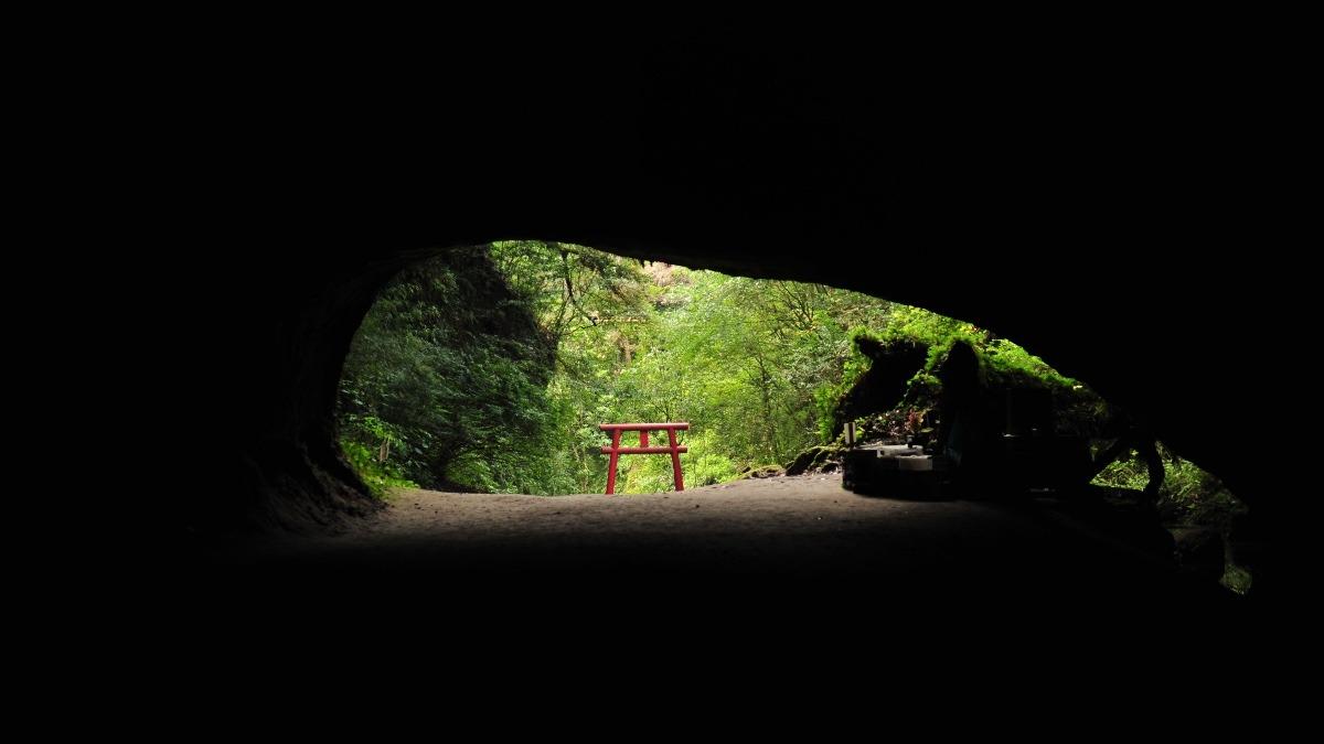 溝ノ口洞穴にて