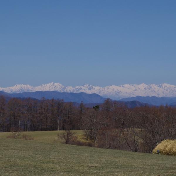 「長門牧場から望む残雪の北アルプス」