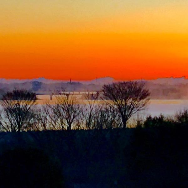 日の出前の朝霧