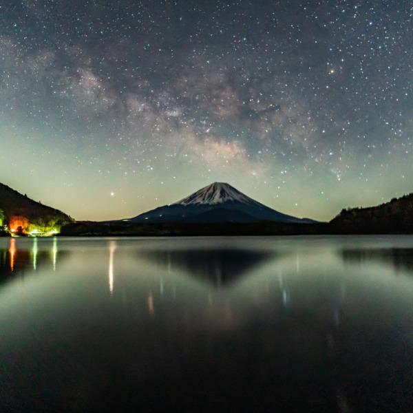 精進湖からの天の川