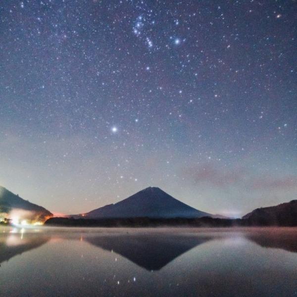 精進湖冬の大三角