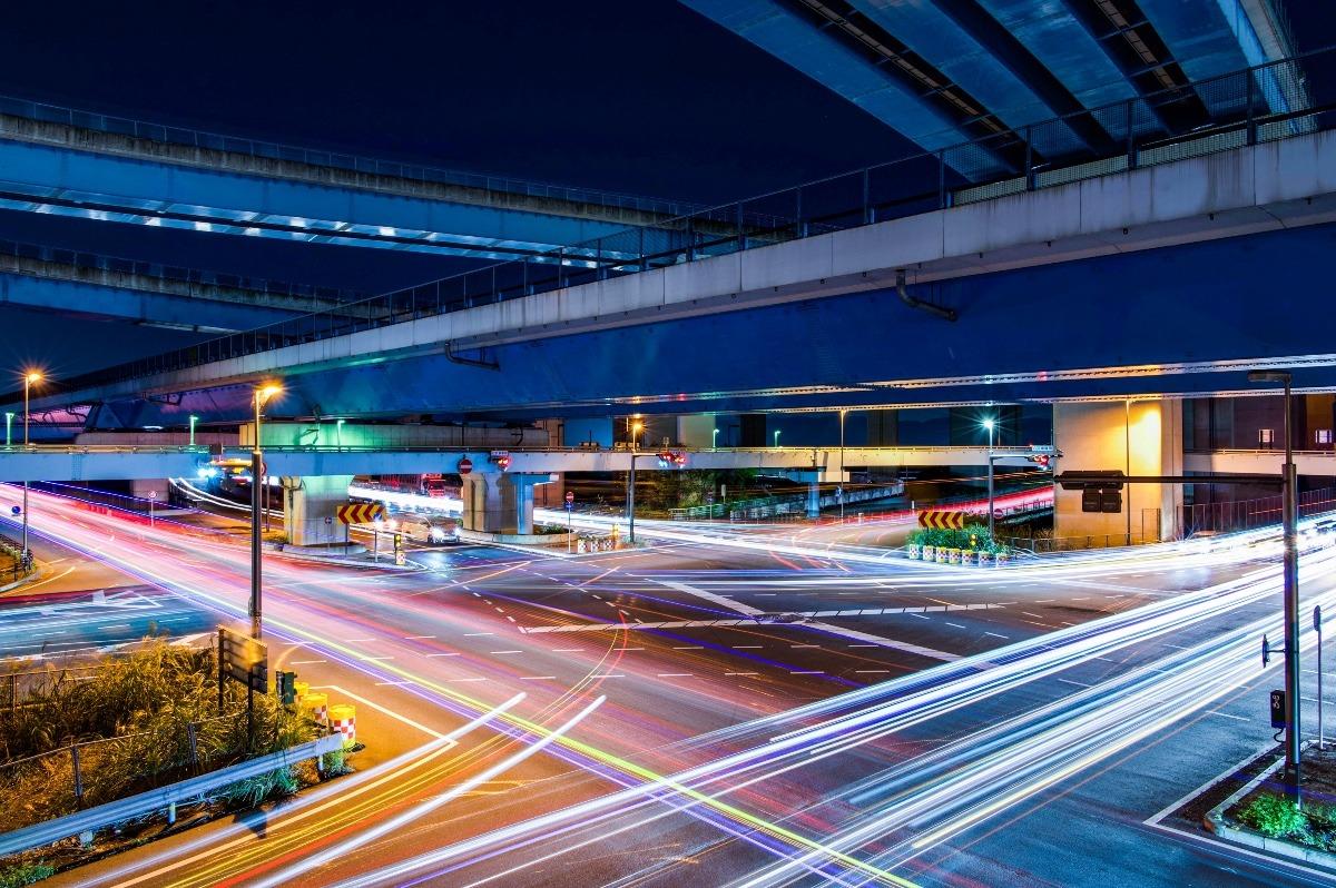 久御山ジャンクションの夜景
