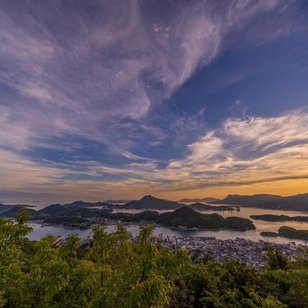 因島 天狗山から見る瀬戸内海の夕日 2