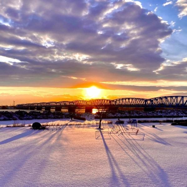 泰平橋と朝日☀️