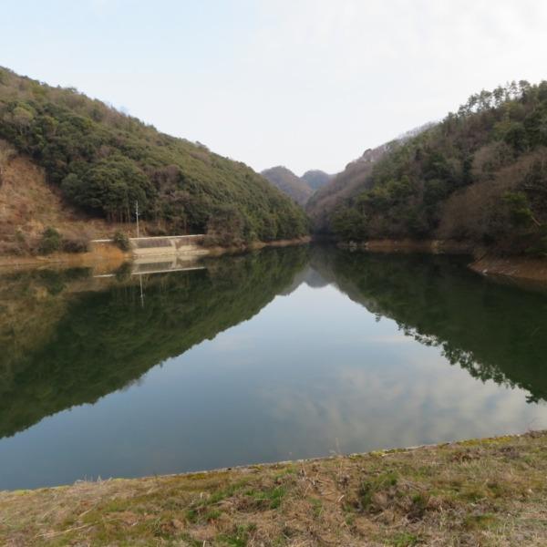 杉谷の里山・杉谷ダムの水鏡の富士