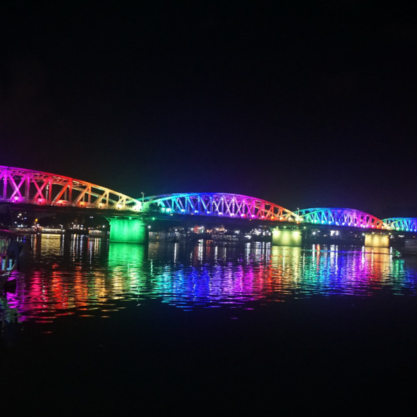 Beautifully illuminated bridge in Hue