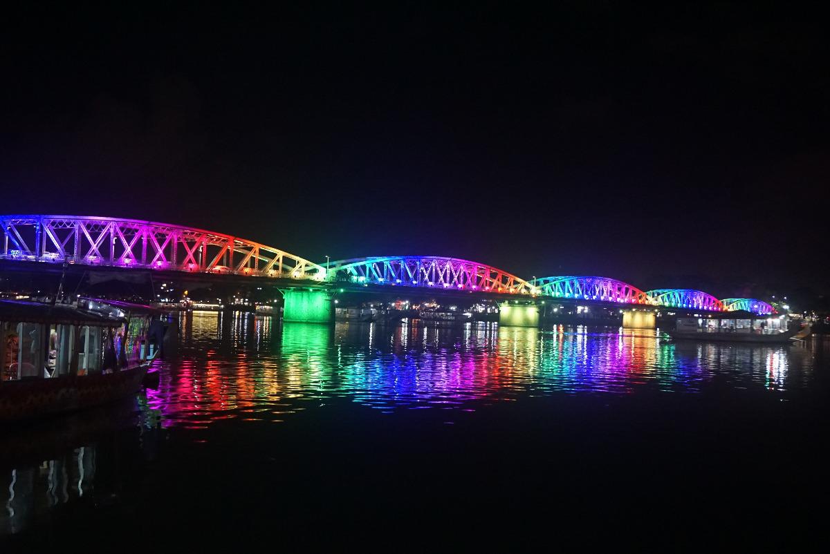 Beautifully illuminated bridge in Hue