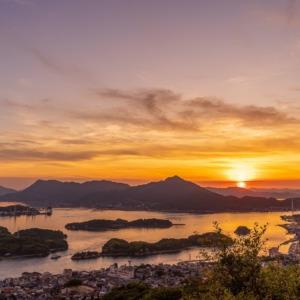 因島 天狗山から見る瀬戸内海の夕日