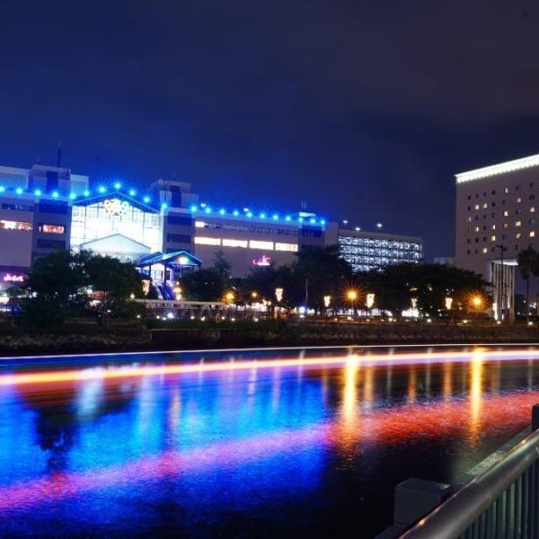 みなとみらい夜景2019✨虹色レーザービーム🌈